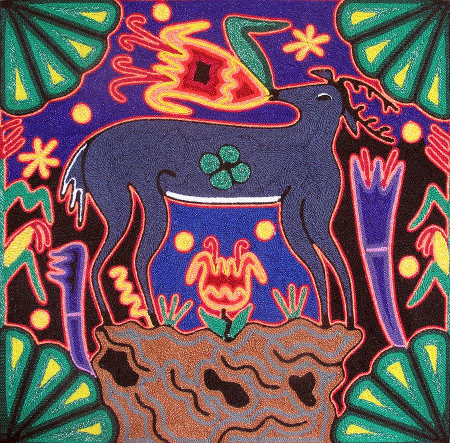 Deer Painting - Huichol Deer by Andrew Osta