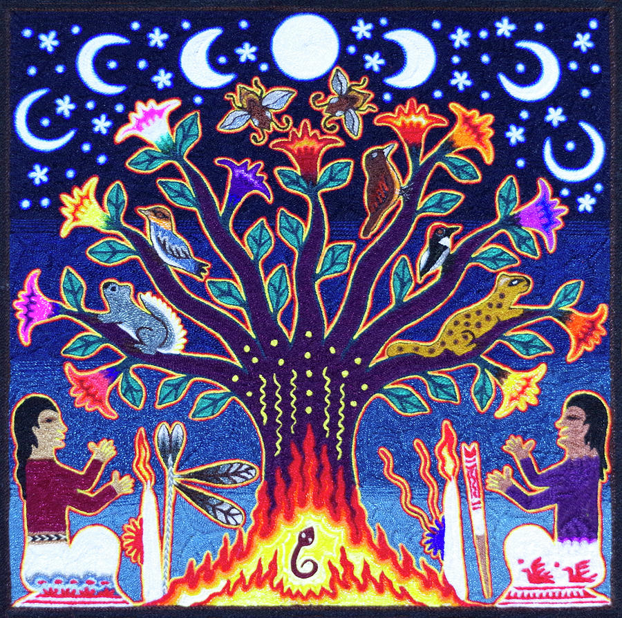 Huichol Indian Sacred Tree Of Life Painting By Andrew Osta