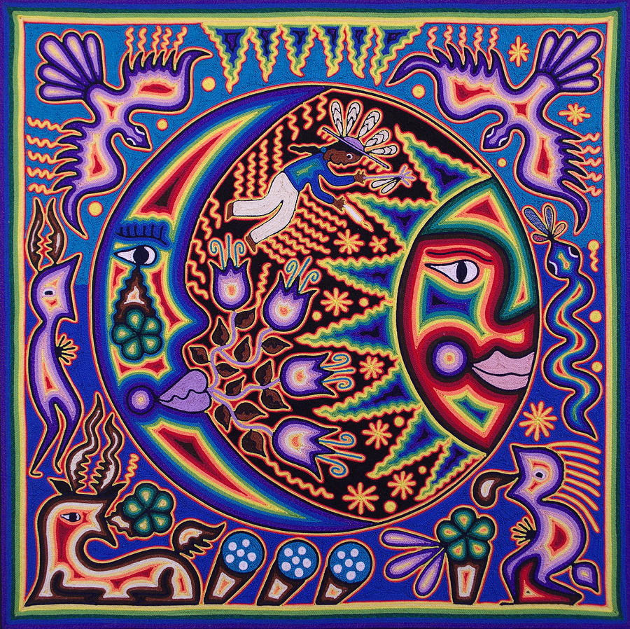 Huichol Moon And Sun Painting By Andrew Osta