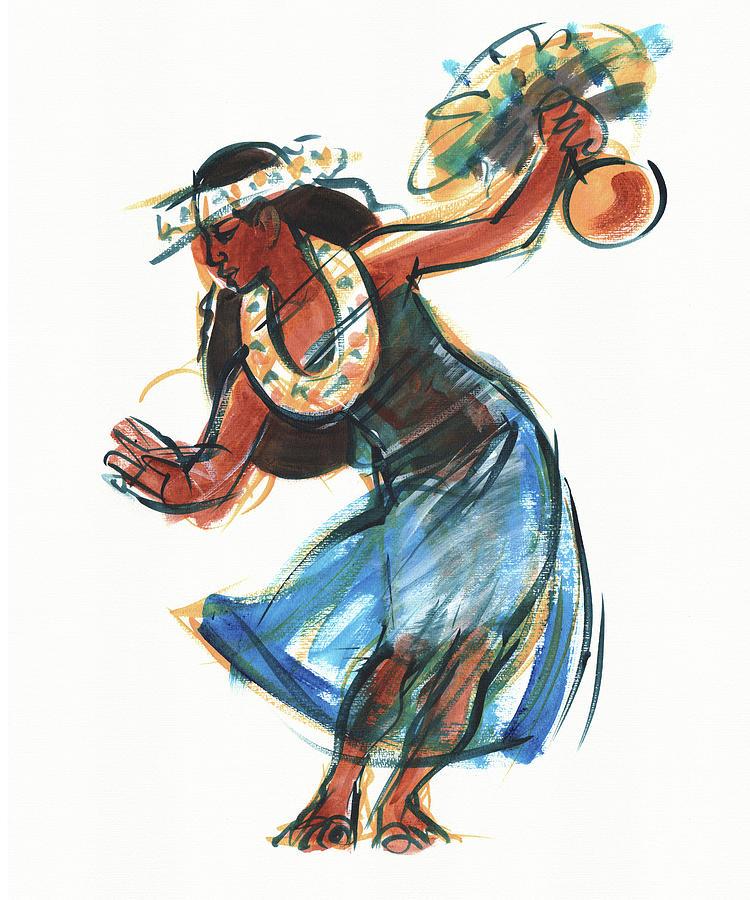Hula Dancer With Uli Painting by Judith Kunzle