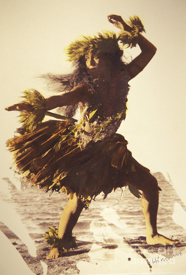 Ancient Photograph - Hula In A Ti Leaf Skirt by Himani - Printscapes