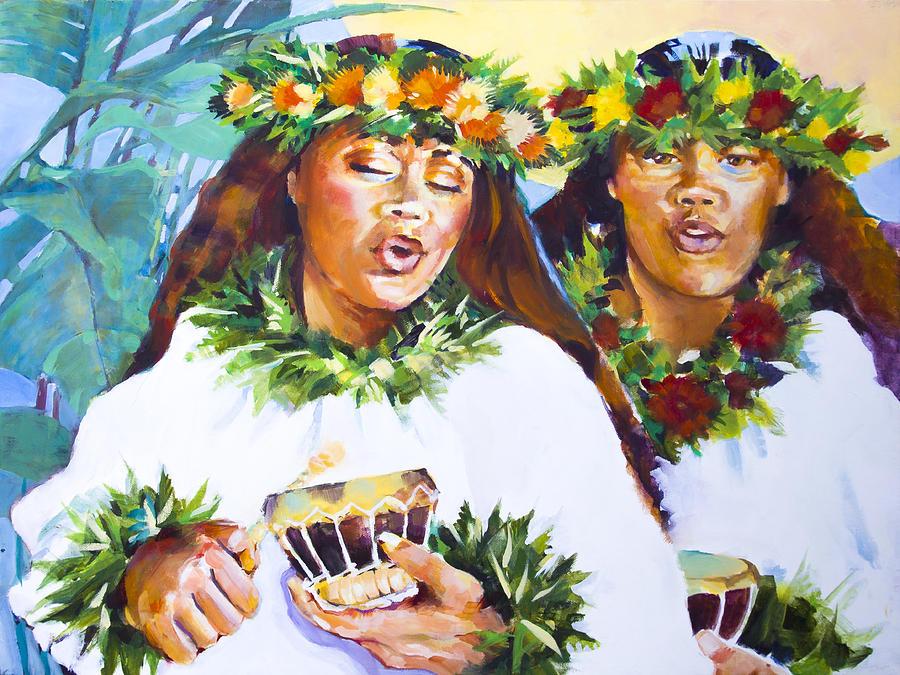Hula Painting - Hula Song by Penny Taylor-Beardow