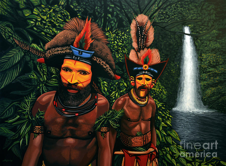 Papua New Guinea Painting - Huli men in the jungle of Papua New Guinea by Paul Meijering