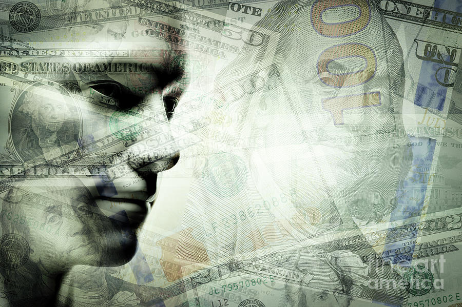 Human Man Face And Dollars Double Exposure. Photograph