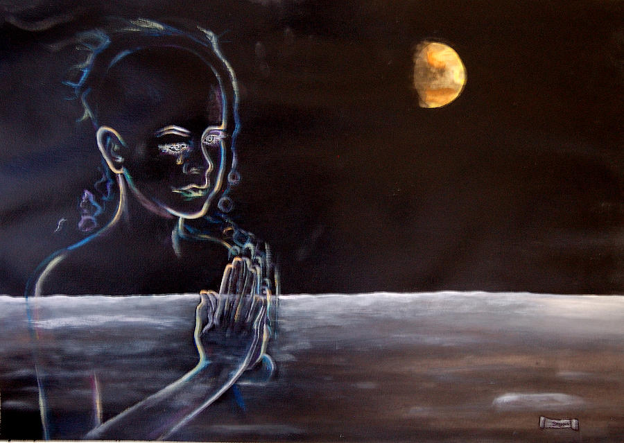 Moon Painting - Human Spirit Moonscape by Susan Moore