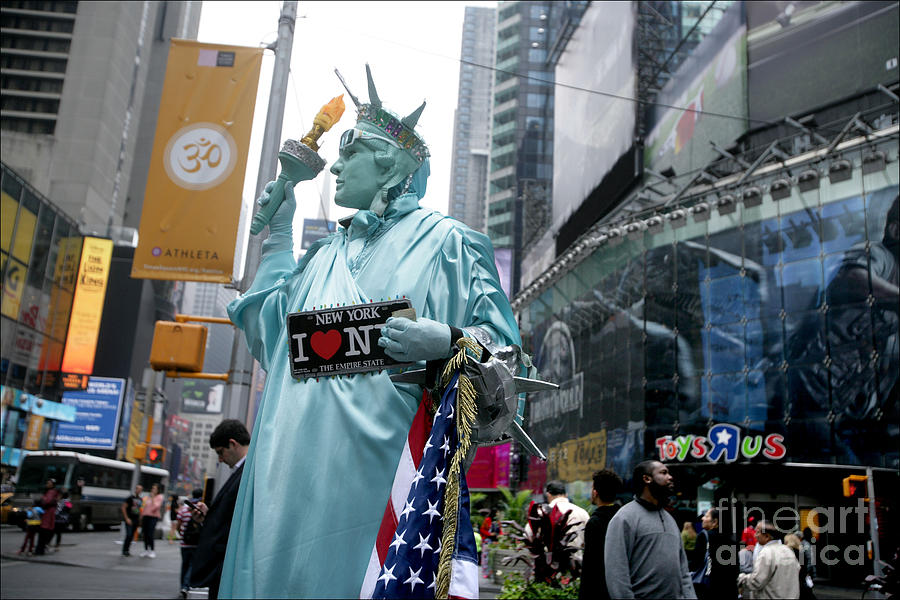 Human Statue Of Liberty In Times Square Photograph by Bruce Crummy
