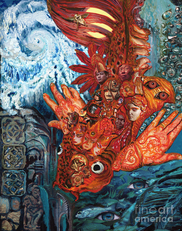 Fish Painting - Humanity Fish by Emily McLaughlin