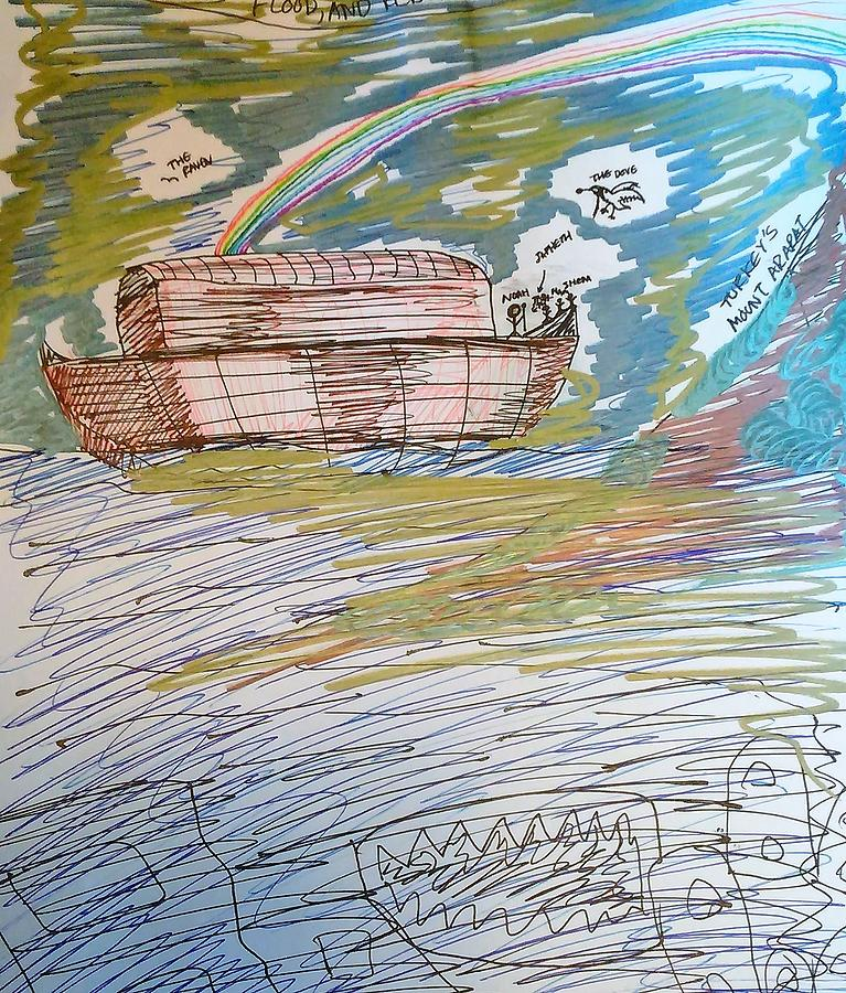 Noah's Ark Drawing - Humanitys Redemption At Mount Ararat by Andrew Blitman