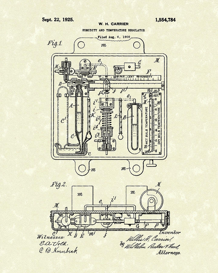 Humidity and Temperature Regulator 1925 Patent Art by Prior Art Design
