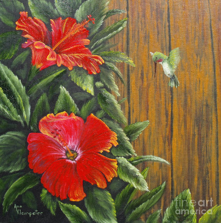 Flowers Painting - Hummer by Ann Kleinpeter