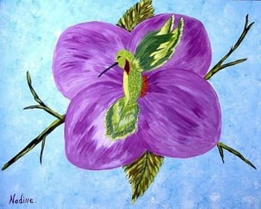 Hummer In Bloom Painting by Nadine  Estes