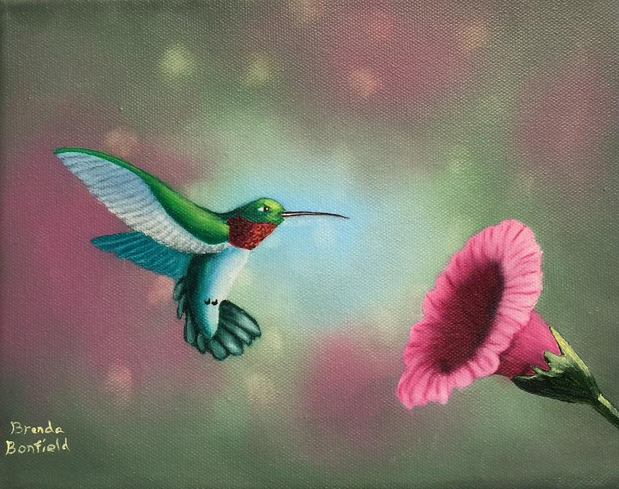 Humming Bird Feeding by Brenda Bonfield