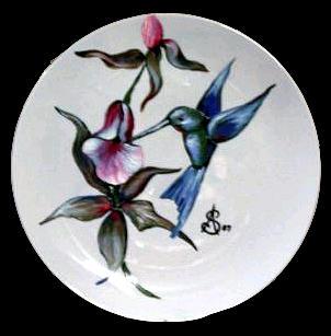 Humming Painting - Humming Bird Plate Sold by Amanda  Sanford