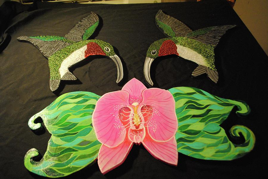 Humming birds and orchid by Patricia Arroyo