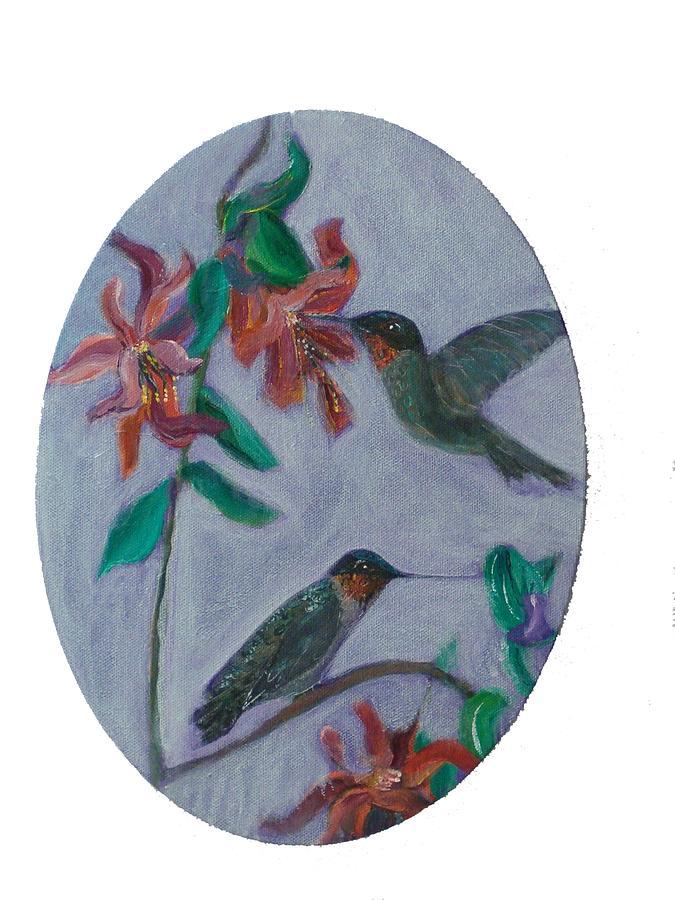 Humming Birds Painting - Humming Birds by Mikki Alhart