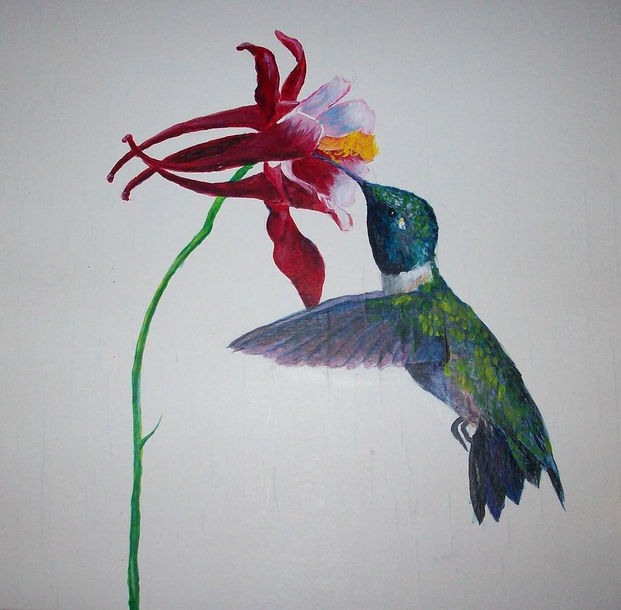 Acrylic Painting - Hummingbird 1 by Ted Hammer