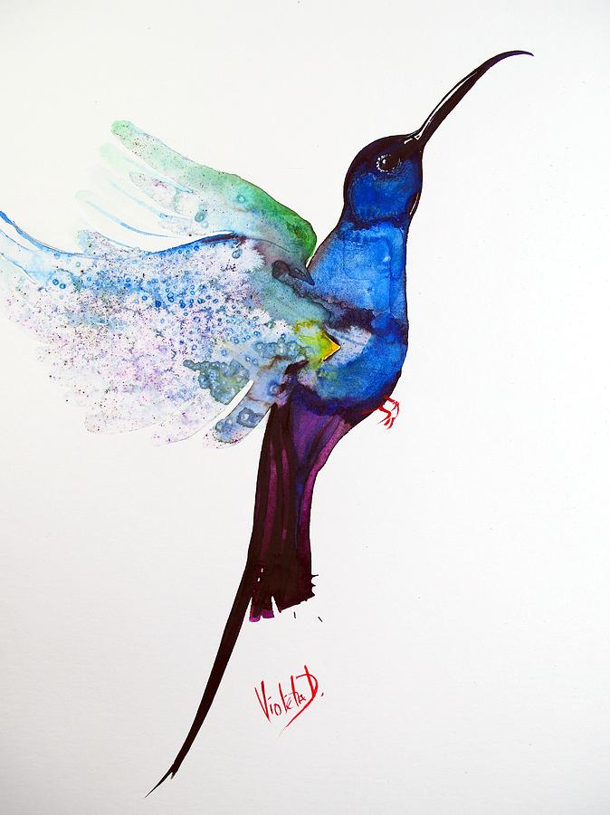 Hummingbird Painting - Hummingbird 12 by Violeta Damjanovic-Behrendt