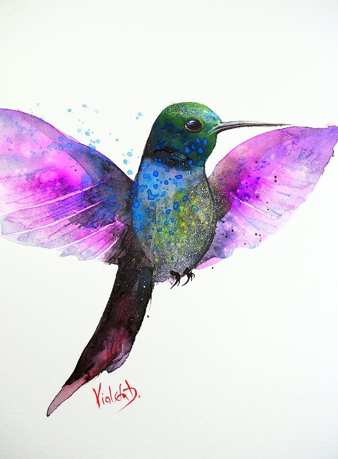 Hummingbird Painting - Hummingbird 7 by Violeta Damjanovic-Behrendt