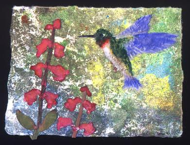 Hummingbird And Penstemon Mixed Media by Joan Lyon