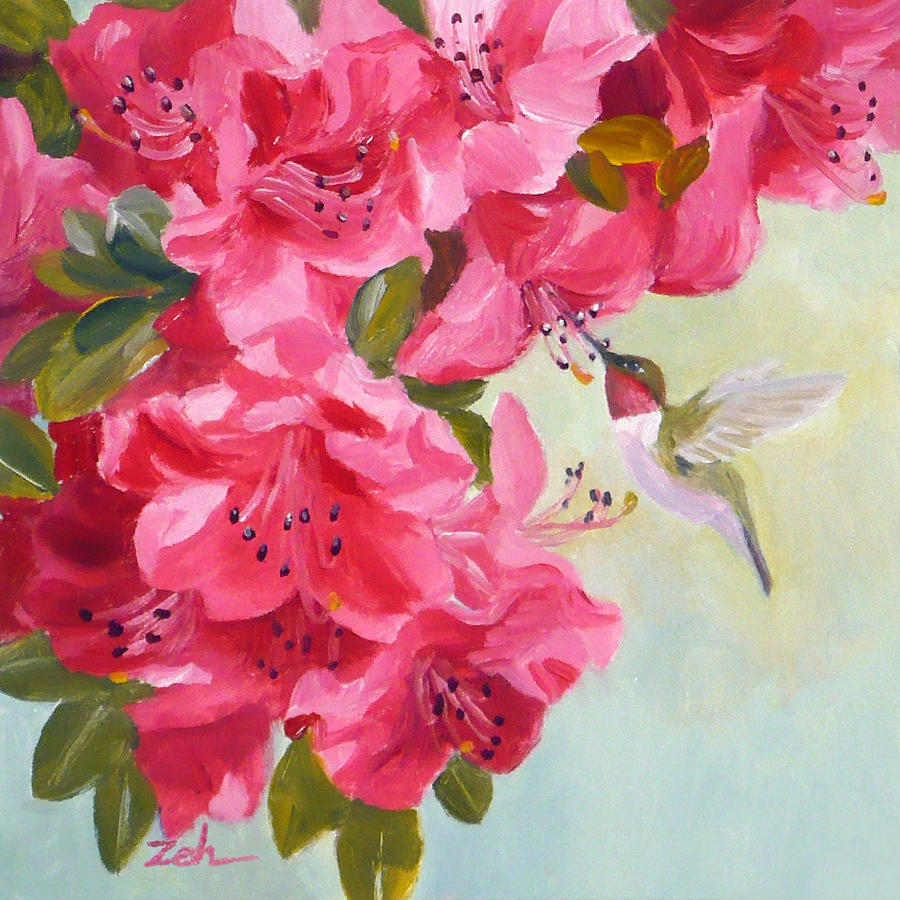 Hummingbird and Pink Azaleas by Janet Zeh