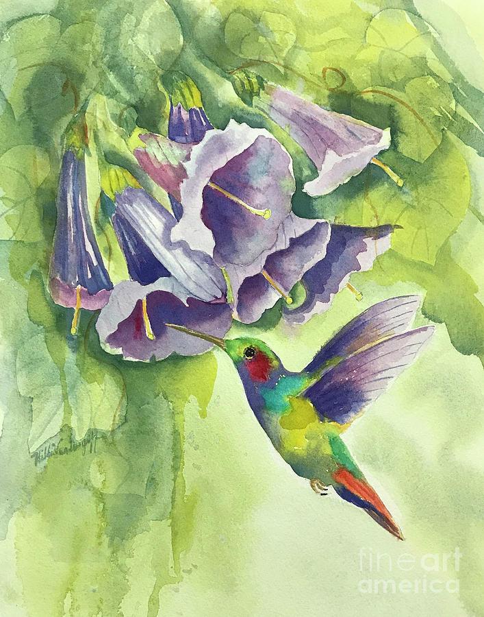 Hummingbird and Trumpets by Hilda Vandergriff