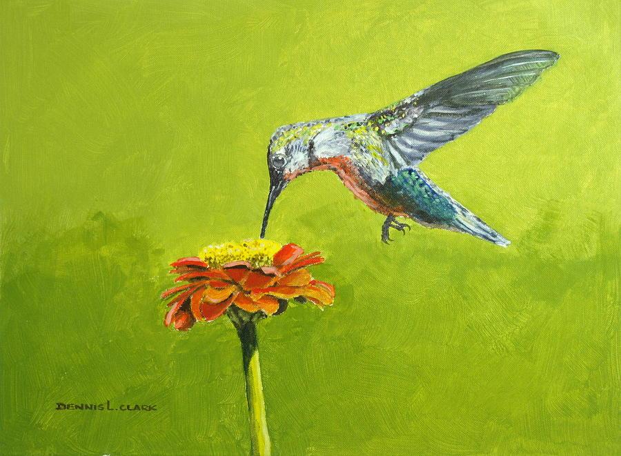 Hummingbird Painting - Hummingbird at Flower by Dennis Clark
