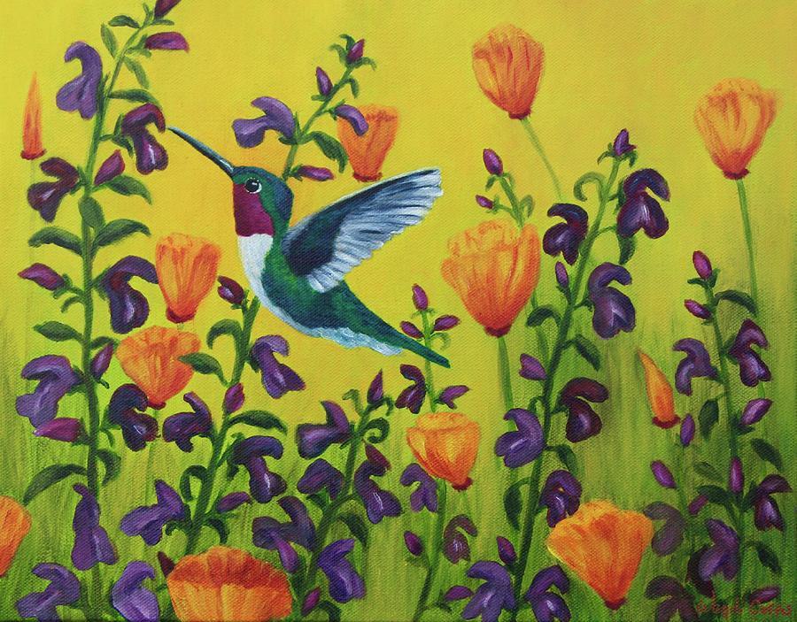 Hummingbird Feast Painting