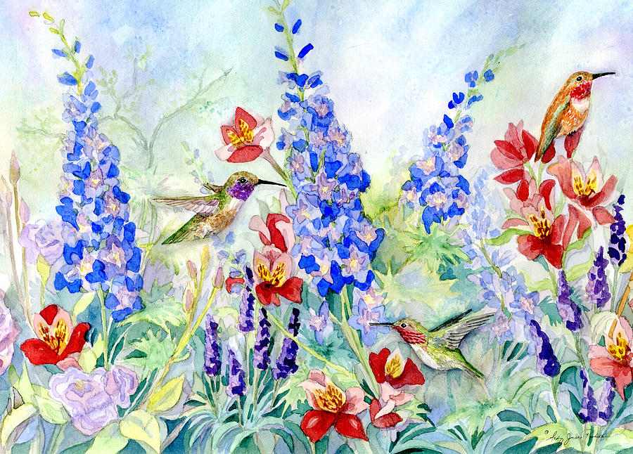 Watercolor Painting   Hummingbird Garden In Spring By Audrey Jeanne Roberts