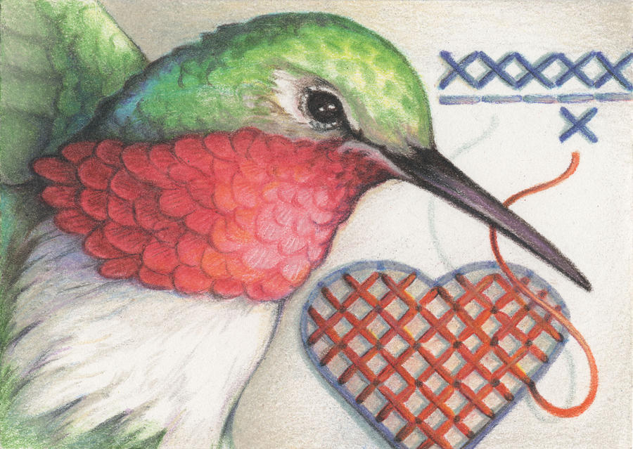 Hummingbird Drawing - Hummingbird Handiwork by Amy S Turner