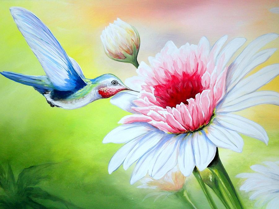 Hummingbird Heaven Painting by Sandra Lett