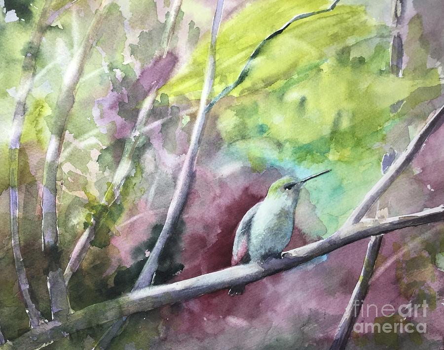 Hummingbird Painting - Hummingbird in the Garden by Yohana Knobloch