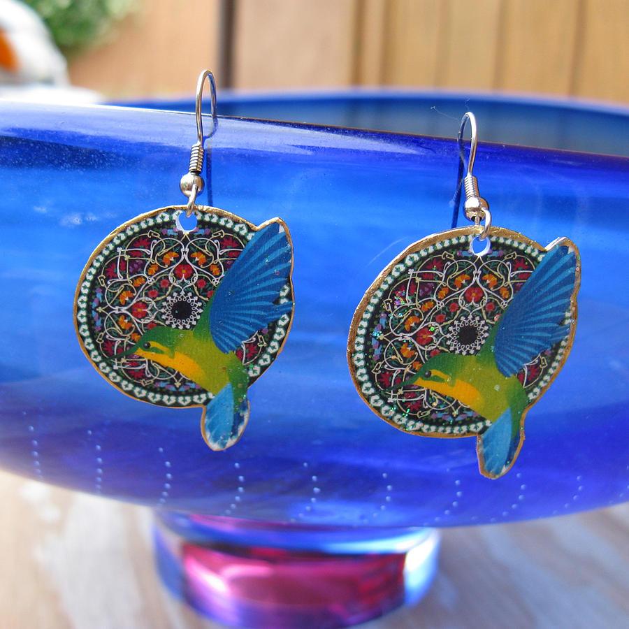 Humminbird Jewelry - Hummingbird Mandala Iridescent Earrings by Paula Bidwell
