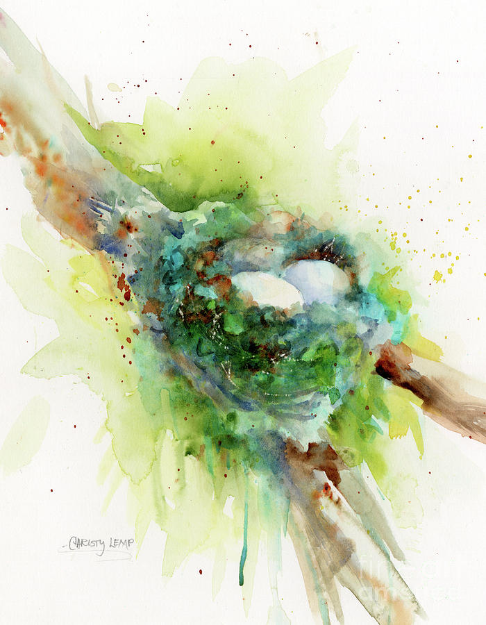 Nest Painting - Hummingbird Nest by Christy Lemp