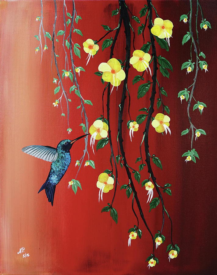 Nature Painting - Hummingbird by Nicole Paquette