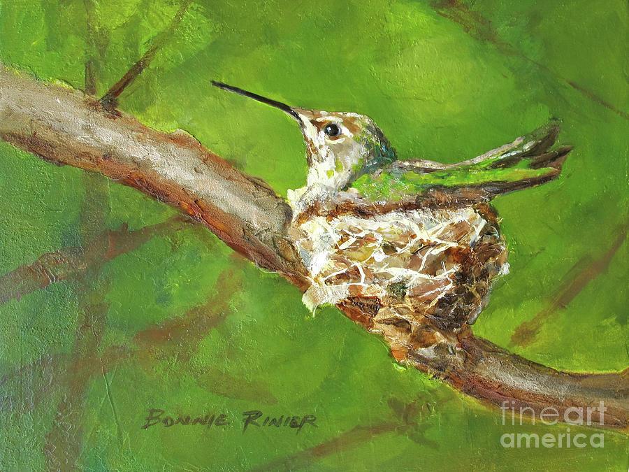 Hummingbird on Nest by BONNIE RINIER
