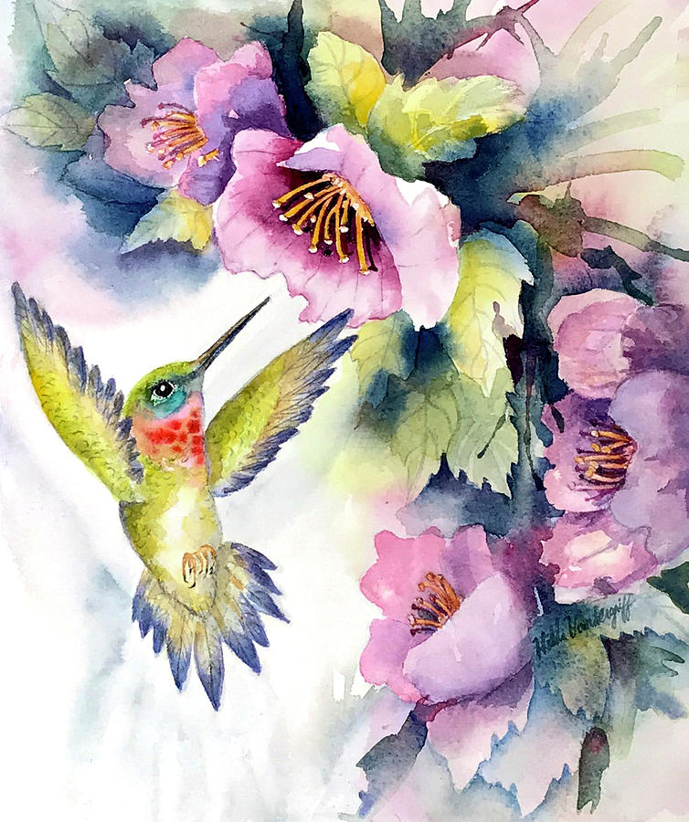Hummingbird With Pink Flowers Painting by Hilda Vandergriff