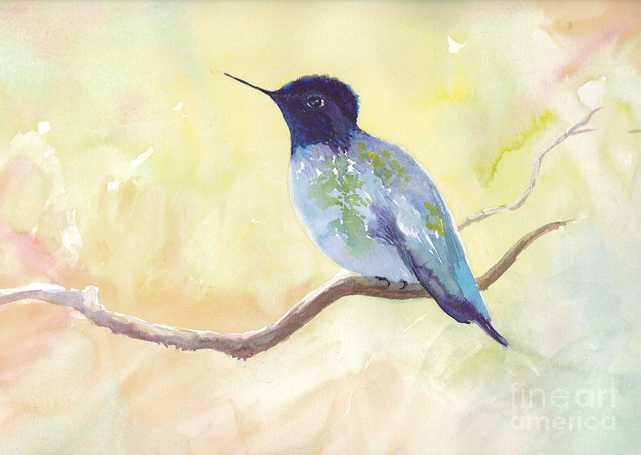 Hummingbird Painting - Blue Hummingbird by Watercolor Meditations