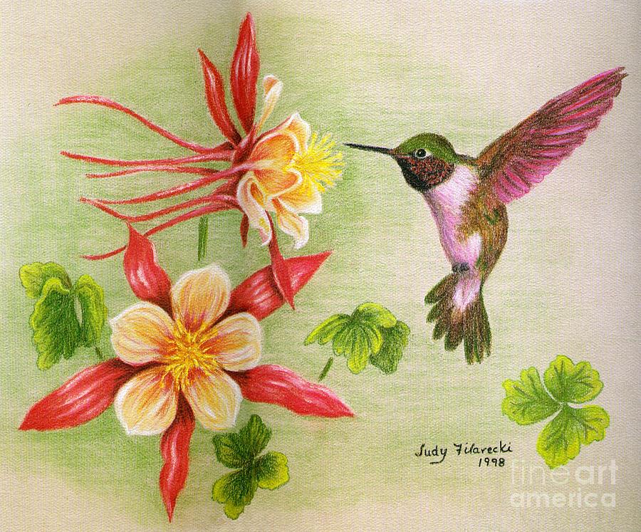 Hummingbird Painting - Hummingbirds Delight by Judy Filarecki