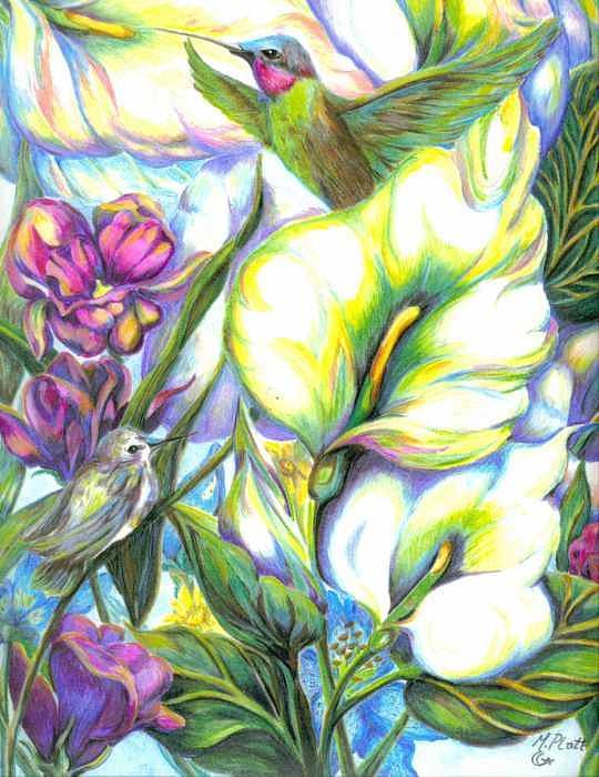 Floral Painting - Hummingbirds In Lillies by Margaret Platt