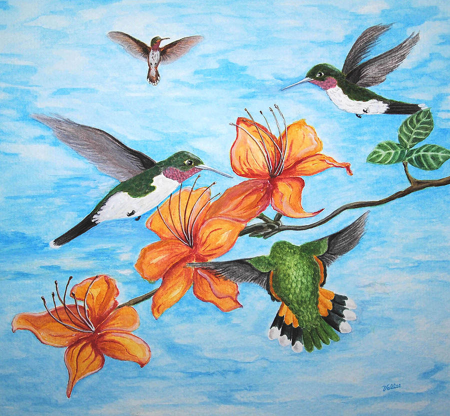 Nature Painting - Hummingbirds by Vallee Johnson