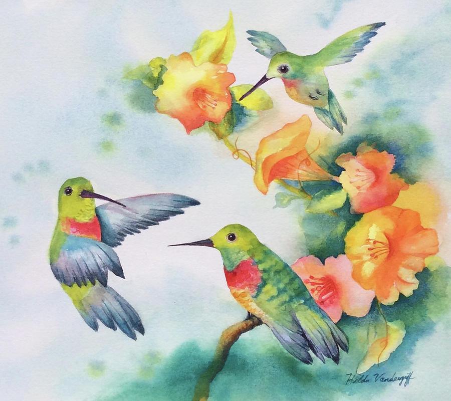 Hummingbirds with Orange Flowers by Hilda Vandergriff