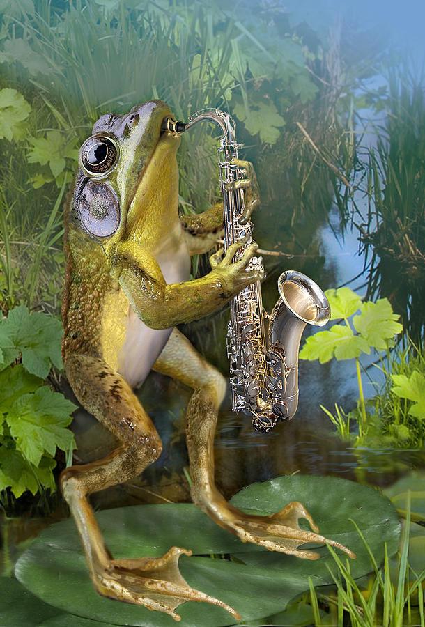 Humorous Frog Plying Saxophone Painting