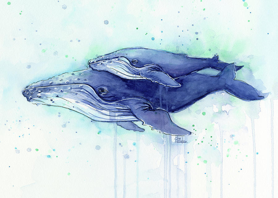 Humpback Whale Mom And Baby Watercolor Painting by Olga ...