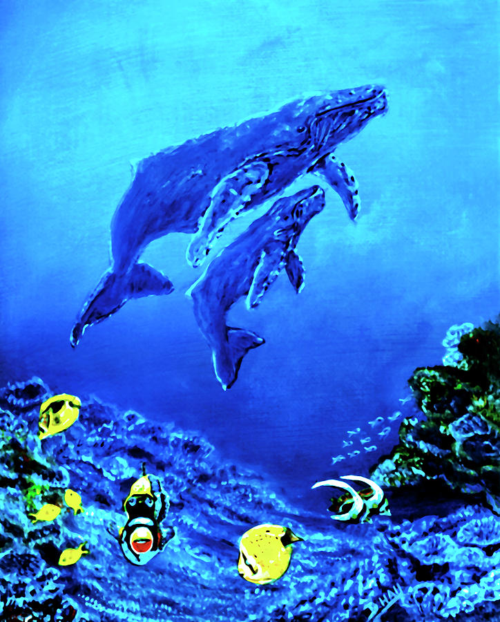Humpback Whales Painting - Humpback Whales Hawaii An Reef #14 by Donald k Hall