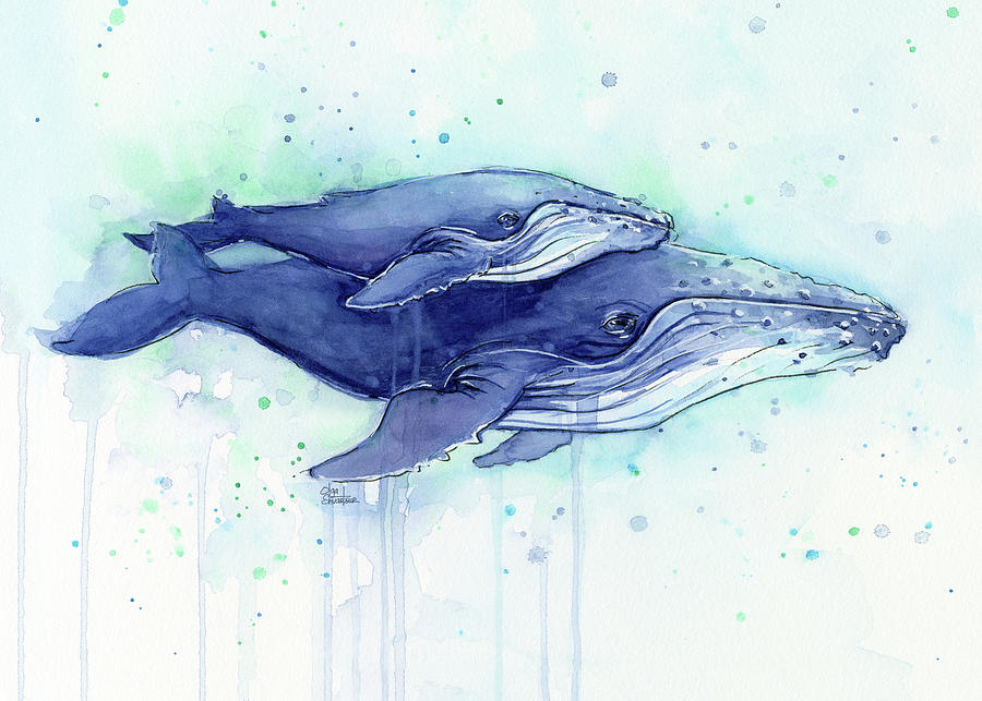 Humpback Whales Mom And Baby Watercolor Painting - Facing ...