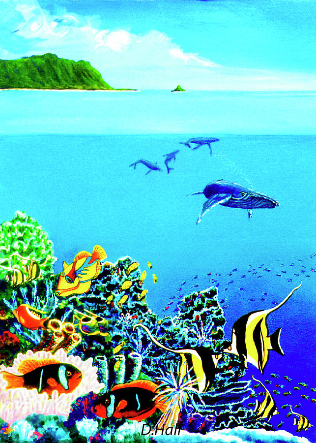 Humpback Whales Painting - Humpback Whales, Reef Fish #252 by Donald k Hall