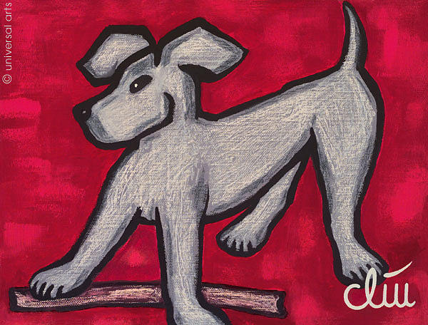 Painting Painting - Hund Auf Rotem Grund - Dog On Red Font by Jacqueline Ditt