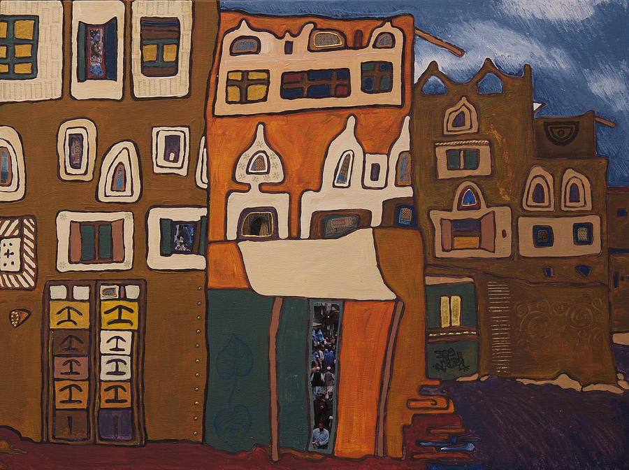 Buildings Painting - Hundertwasser In The Middle East by Sarita Role Schaffer