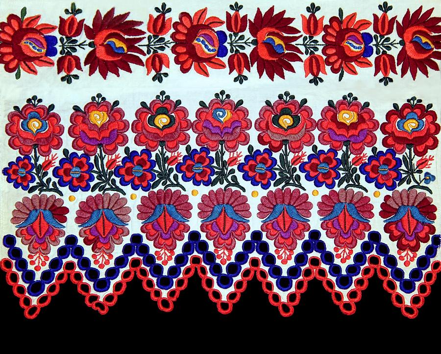 Hungarian Photograph - Hungarian Folk Art Embroidery From Sioagard by Andrea Lazar