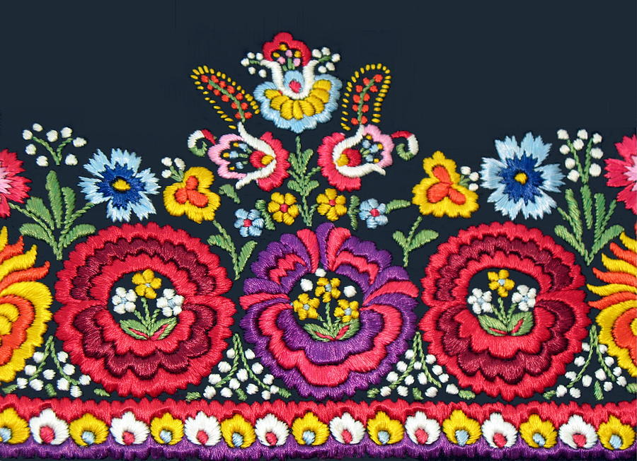 Hungarian Embroidery Photograph - Hungarian Magyar Matyo Folk Embroidery Detail by Andrea Lazar